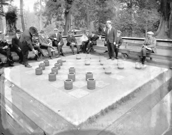 checkers in Stanley park 1920's small